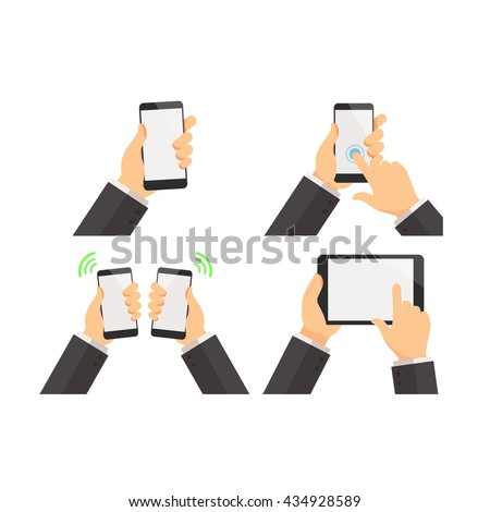 Phone with hand holding vector set - stock vector