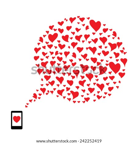 phone with heart Speech Bubble - stock vector