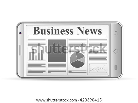 Phone with newspaper on a white background. - stock vector