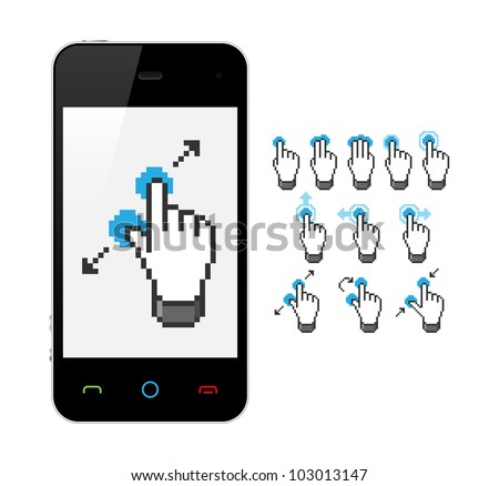 Phone with touch screen gestures. Vector illustration.