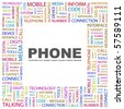 PHONE. Word collage on white background. Illustration with different association terms. - stock photo