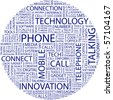 PHONE. Word collage on white background. Vector illustration. - stock photo