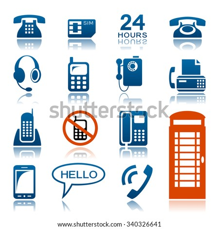Phones and fax icon set - stock vector