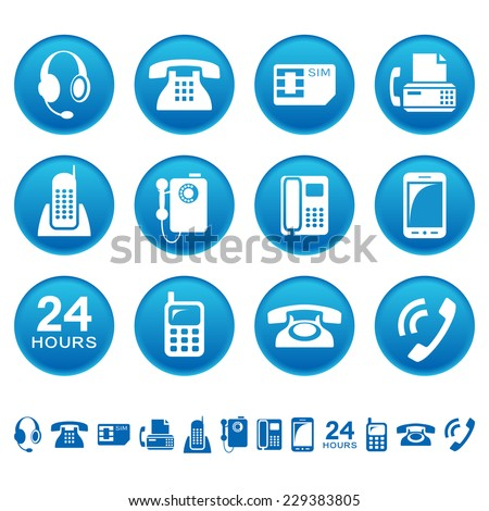 Phones and fax icons - stock vector
