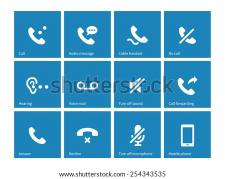 Phones related icons on blue background. Vector illustration. - stock vector