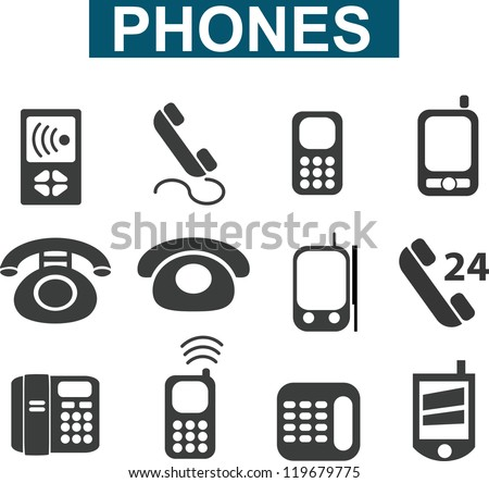 phones signs, icons set, vector - stock vector