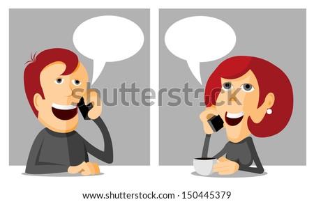 Phoning man, woman phoning, cartoon vector illustration - stock vector
