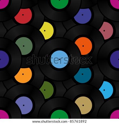 Phonograph vinyl record seamless background pattern. Vector illustration. - stock vector