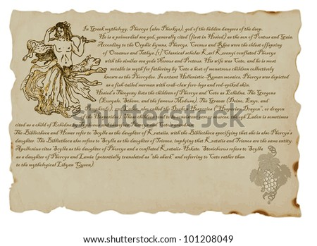 PHORCYS. Clever pictures by Greek, Roman and Egyptian myths. Hand drawing. (Text in English language.) - stock vector