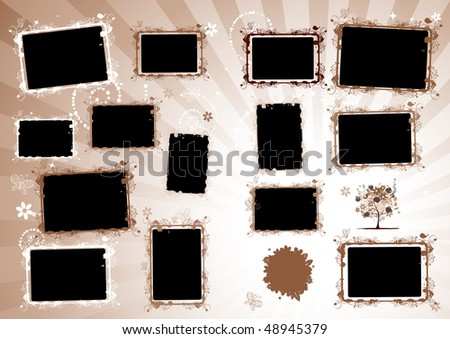 Photo album design page. Insert your photo into frames - stock vector