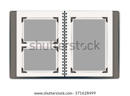 photo album pages with retro photo frames. vector design template - stock vector