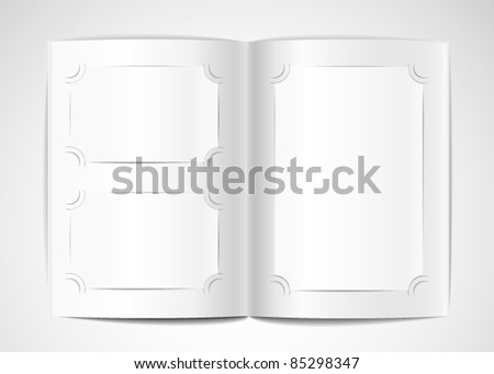 Photo album with blank photo cards - stock vector