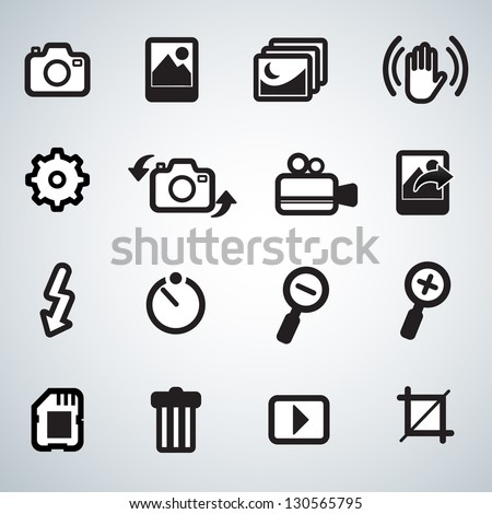 photo and camera icons - stock vector