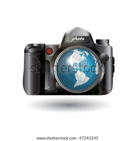 photo and globe - stock vector