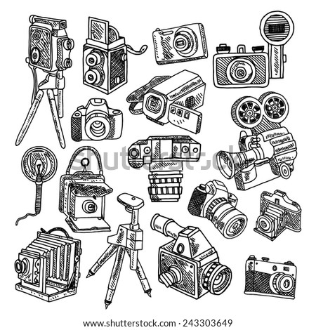 Photo and movie vintage hobby cameras with tripod and flashlight pictograms collection graphic doodle sketch vector illustration - stock vector