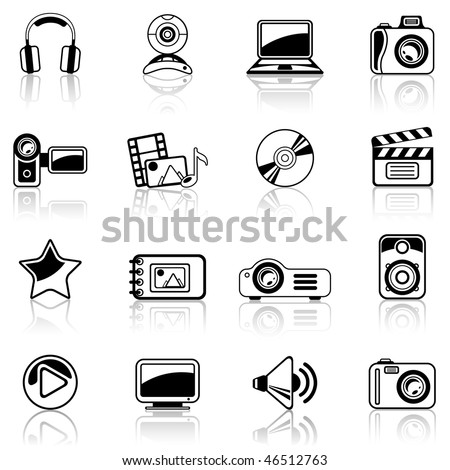 Photo and Video black icon set - stock vector