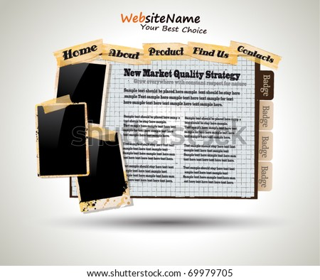Photo Book Vintage Style Website Template - stock vector