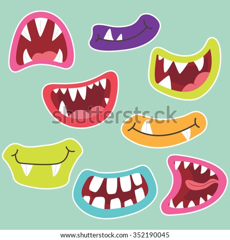 Photo booth Monster Mouth - stock vector