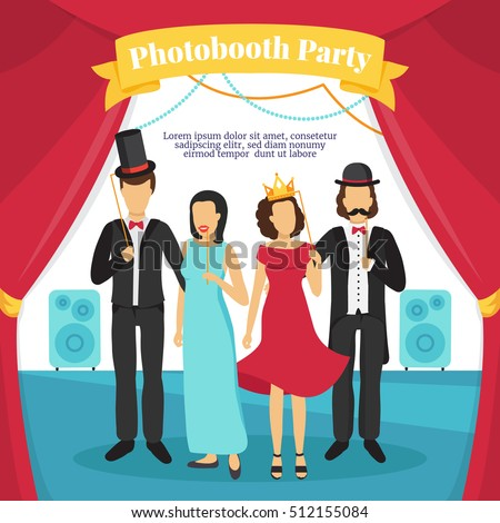 Photo booth party with people stage music and curtains flat vector illustration