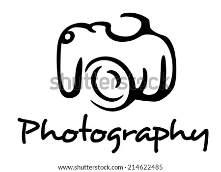 Photo camera and photography emblem in outline style isolated on white background. For media, hobbies and photography art design - stock vector