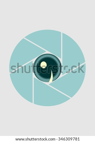 Photo camera aperture icon. Silhouette with cartoon eye in the center - stock vector