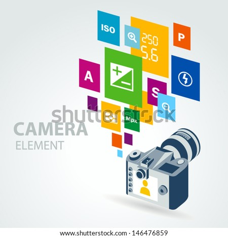 photo camera element icons - stock vector