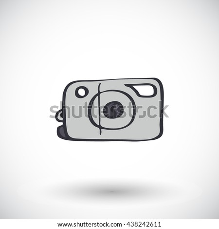 Photo camera. Hand-drawn doodle art supply icon with round shadow. Vector illustration. - stock vector