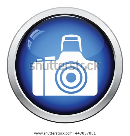 Photo camera icon. Glossy button design. Vector illustration. - stock vector
