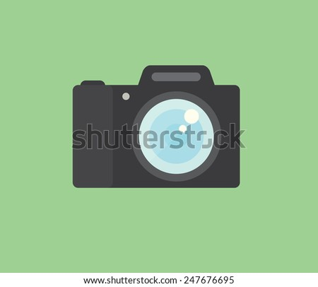 Photo camera icon, modern minimal flat design style, vector illustration - stock vector
