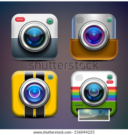 Photo camera icon set. Eps 10. - stock vector
