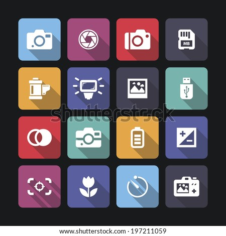 Photo camera icons with shadow, vector.