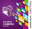 photo camera image icon colorful media element background / eps8, no transparent - stock vector