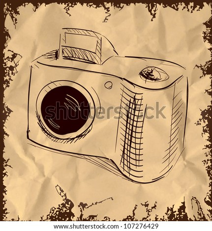 Photo camera isolated on vintage background. Hand drawing sketch vector illustration