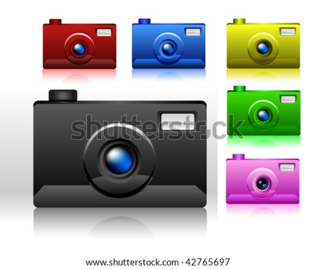Photo camera isolated on white. Includes different colours of the camera - stock vector