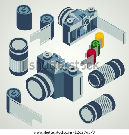 photo camera lens film element set - stock vector
