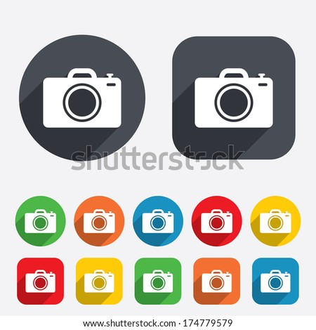 Photo camera sign icon. Digital photo camera symbol. Circles and rounded squares 12 buttons. Vector - stock vector