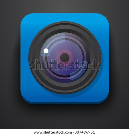 Photo camera symbol icon on blue. Vector