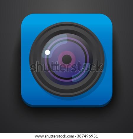 Photo camera symbol icon on blue. Vector - stock vector