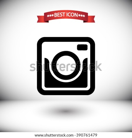 Photo camera vector icon. Photo camera icon under the red ribbon. Shadow under Photo camera vector icons. Photo camera icon on gray background. Photo camera icon on the background of the room. - stock vector