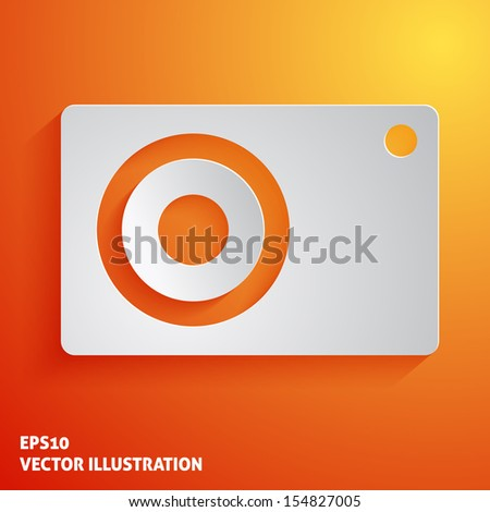 Photo camera white icon on orange background. Vector illustration - stock vector