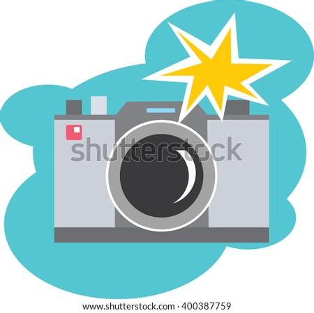 freehand retro cartoon flashing camera stock vector