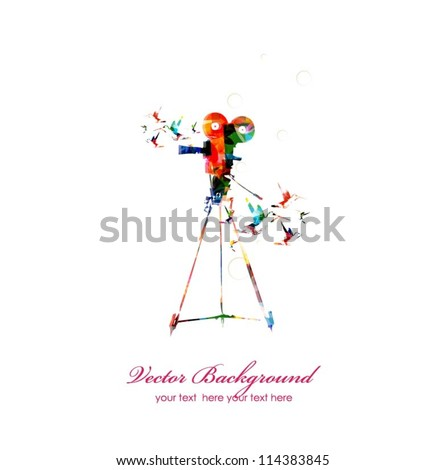 Photo camera with hummingbirds background - stock vector