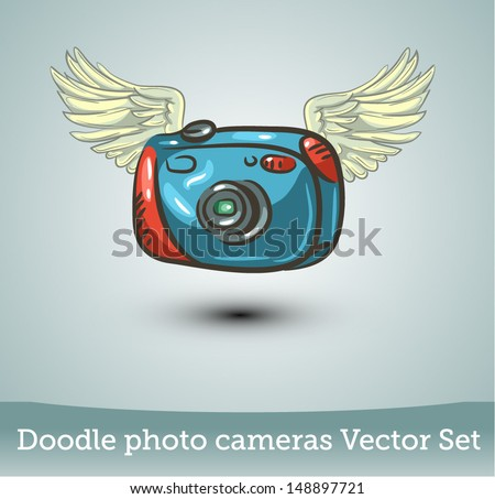 Photo camera with wings - stock vector