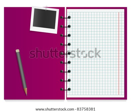 Photo card and pencil on the working notebook - stock vector