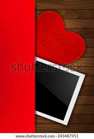 Photo card on wooden background - stock vector