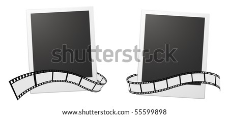 photo cards and film strip - stock vector