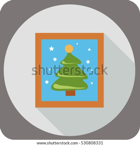 photo christmas tree vector icon for web and mobile application flat  design style  long shadow