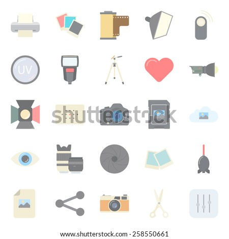 Photo equipment end editing flat icons set  vector graphic illustration design - stock vector