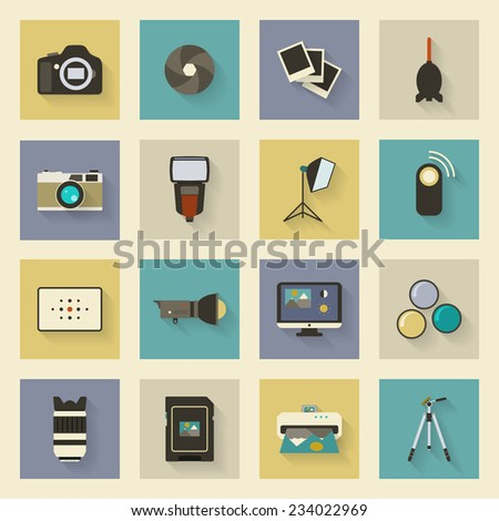 Photo equipment flat icons set with shadows - stock vector