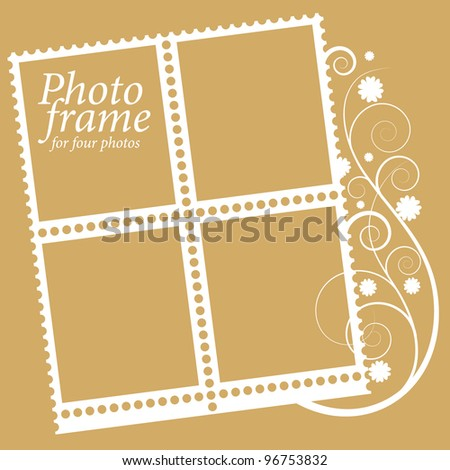 photo frame as a block of stamps - stock vector